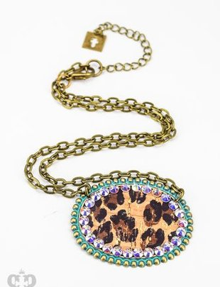 Pink Panache TURQUOISE sideways oval with LEOPARD inlay & AB crystals on chain necklace