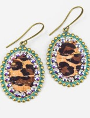 Pink Panache TURQUOISE small oval with LEOPARD inlay & AB crystals on BRONZE french wire earring