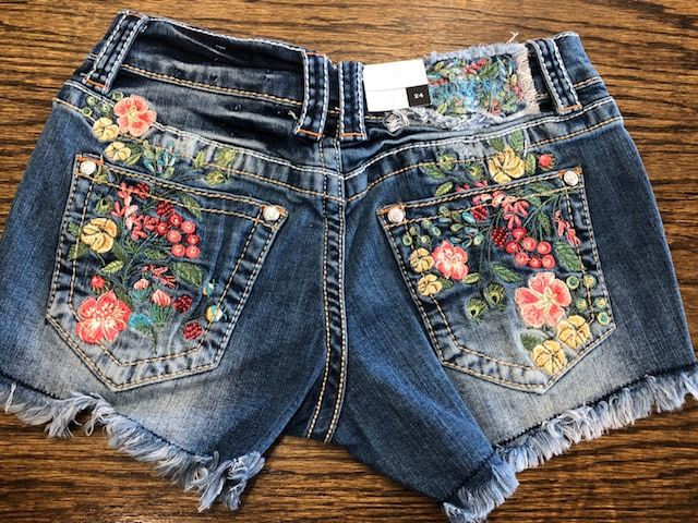 Grace in LA Denim Floral Shorts
