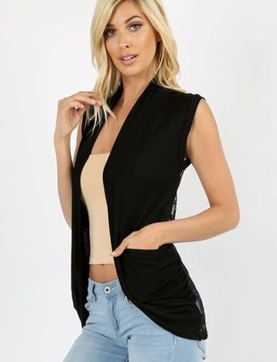 Laced Back Vest with Pockets