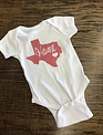 Back Road Beauties Kids Glitter Pink Texas Onesie