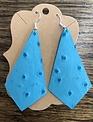 Back Road Beauties Blue Ostrich Leather Earrings-Long Diamond