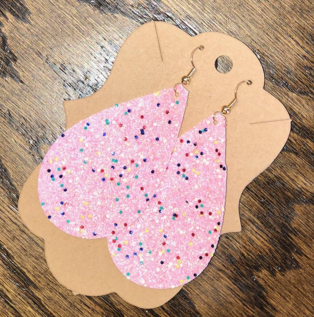 Back Road Beauties Bubble Gum Pink Glitter w Multi Colored Glitter Earrings-Teardrop