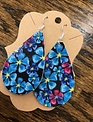 Back Road Beauties Blue Floral Leather Earrings