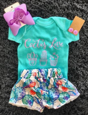 Little Girl Water Color Cactus Shorts