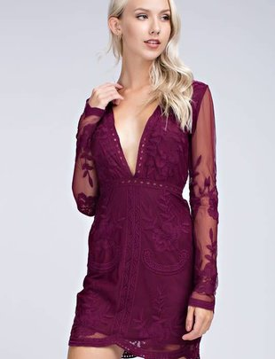 Wine Embroidered Long Sleeve Dress