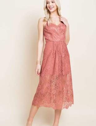 Blushing Heart Rose Lace Mini Dress