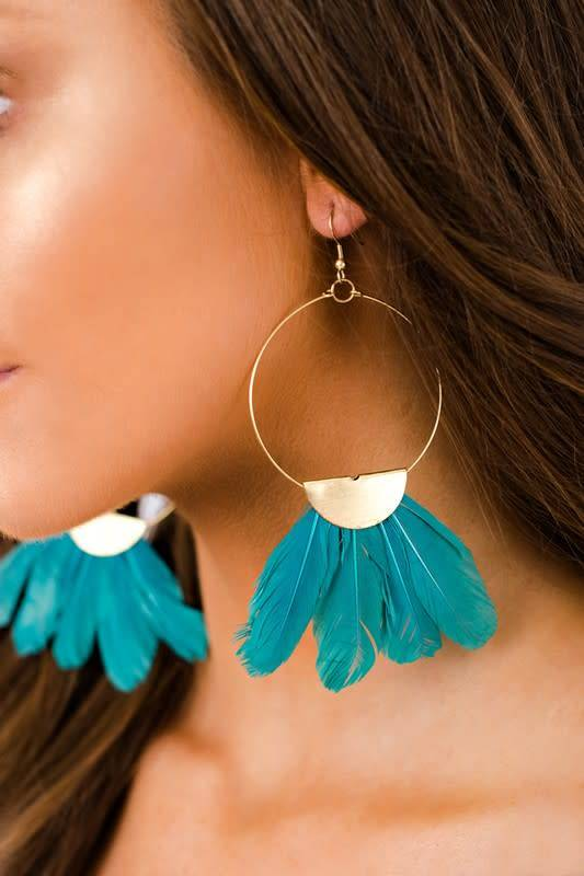 Boho Gold Hoop Turquoise Feather Earring