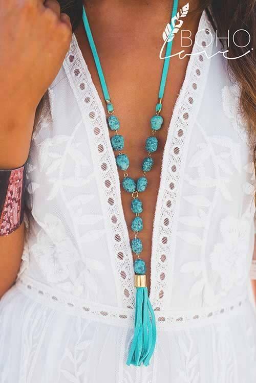 Boho Turquoise Stone Tassel Necklace