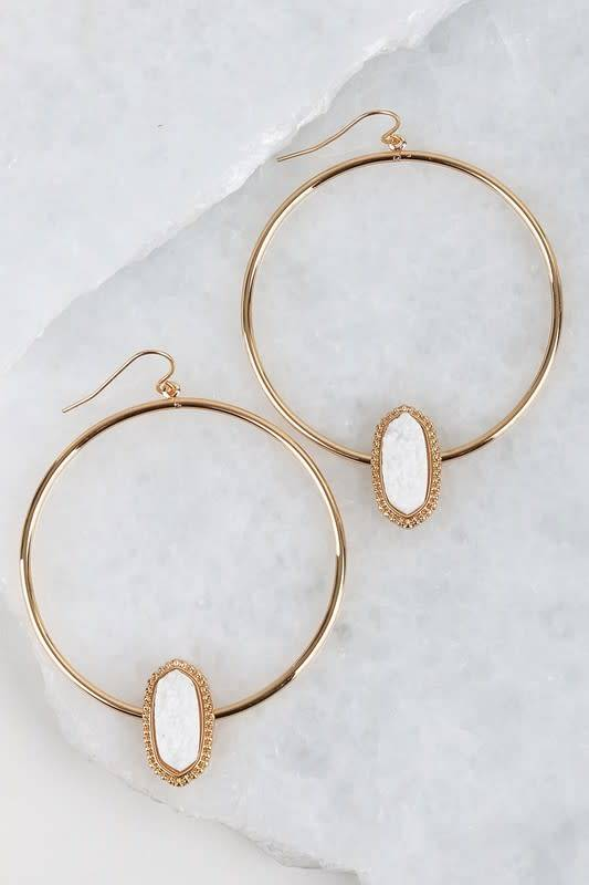 Druzy Stone Hoop Earrings