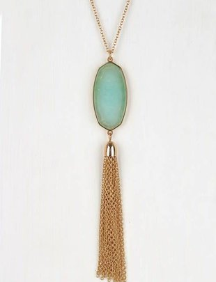 Natural Stone Oval Pendant Necklace