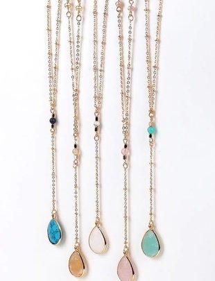 Mint Crystal Bead Y Necklace