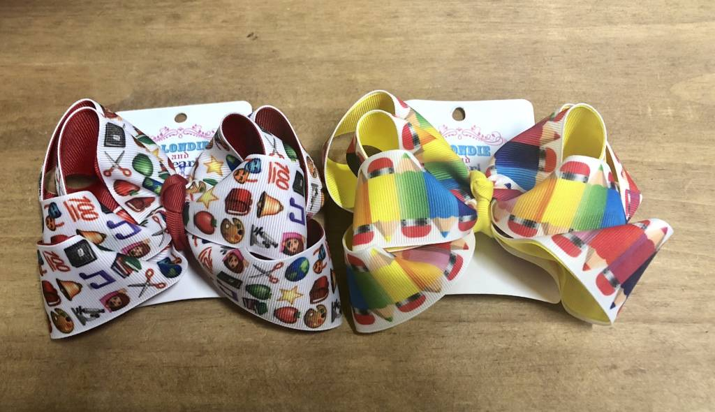 Blondie and Pearl Back to School Stacker Bow