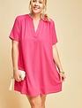Fuchsia V Neck Shirt Dress