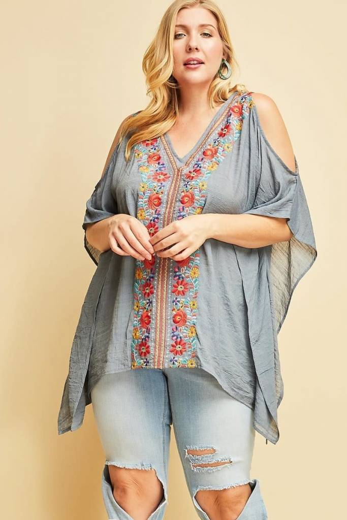 Denim Blue Embroidered Top