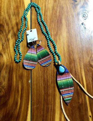 Serape Teardrop TQ Stone Necklace