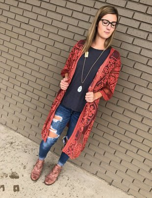 Medallion Design Lace Kimono