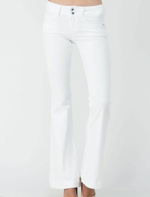 White Mid Rise Two Button Flare Jeans