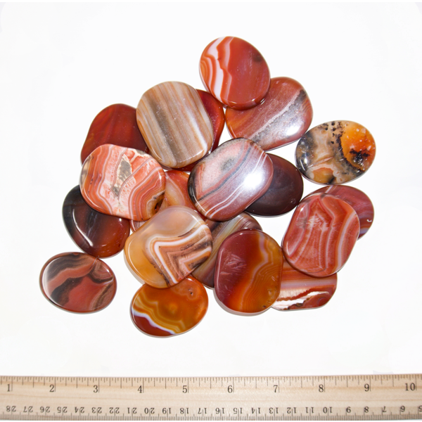 Banded Carnelian - Palm Stone Large (1 lb parcel)