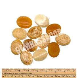 Orange Calcite - Palm Stone Pillow (12 piece parcel)