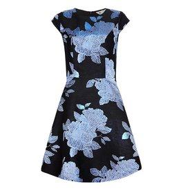 Yumi Dress-Floral Jacquard Blk/Blue