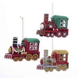 Kurt Adler Blow Mold Glitter Train Ornament
