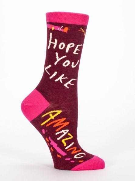 Blue Q Crew Socks- Hope You Like Amazing