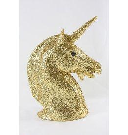 GLITTERED UNICORN BUST-GOLD