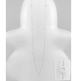 Sterling Long Necklace W/CZ