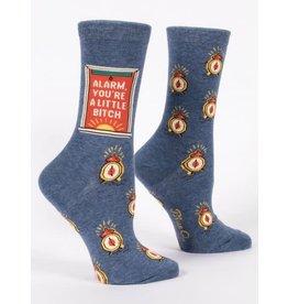 Blue Q Crew Socks- Alarm You're A Little