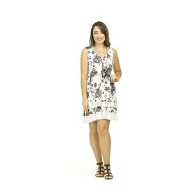 Papillon Rose Print Ruffle Dress White