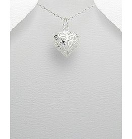 Sterling Necklace- 3D Filigree Heart