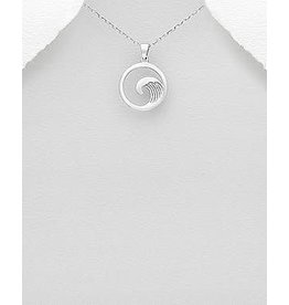 Sterling Necklace- Circle W/Wave