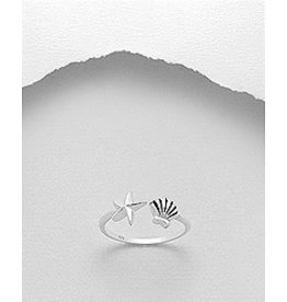 Sterling Ring-  Starfish and Shell