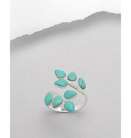 Sterling Adjustable Ring- TQ Leaf