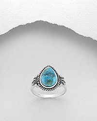 Sterling Ring- Teardrop Turquoise