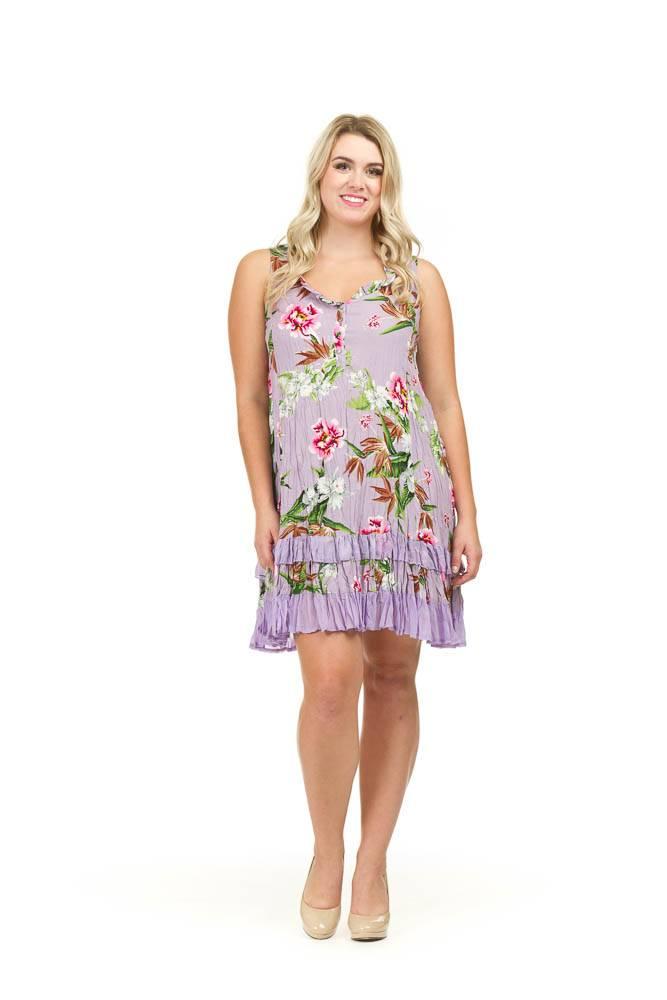 Papillon Bella Purple Floral Ruffle Dress