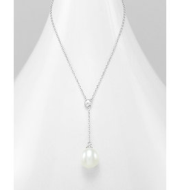 Sterling Necklace- Pearl Drop Necklace