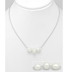 Sterling Necklace- Triple Beaded Pearl