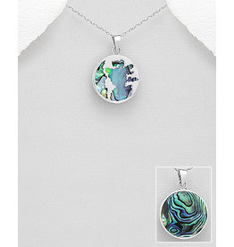 Sterling World Map With Abalone Necklace