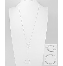 Sterling Long Circle Lariat Necklace