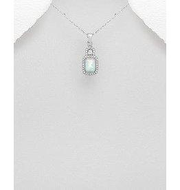 Sterling Opal/CZ Necklace