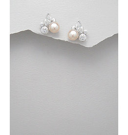 Sterling Sterling Silver Pearl & CZ Studs