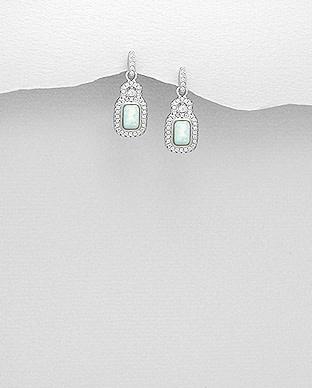 Sterling Opal & Cz Earrings