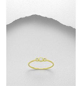 glimmer Gold Ring W/Triple CZ