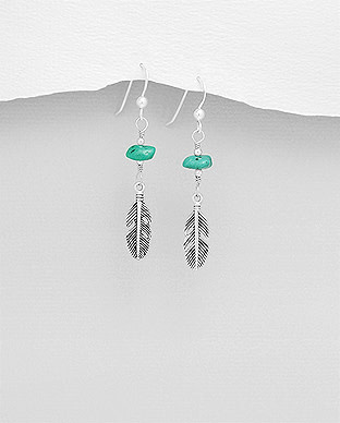 Sterling Turquoise Feather Earrings