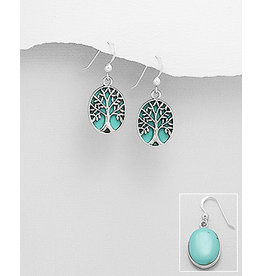 Sterling Drop Earrings With TQ/Tree
