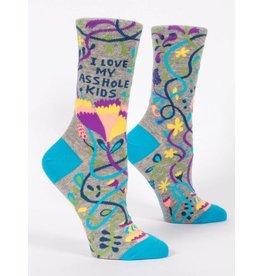 Blue Q Crew Socks-Love My Asshole Kids