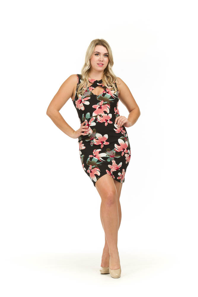 Papillon Korey Floral Dress w/Tulip Hem