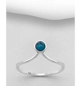 Sterling Ring-  Pointed W/Turquoise